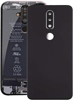 قطع غيار QFH غطاء خلفي للبطارية مع عدسة كاميرا لنوكيا X6 (2018) / 6.1 Plus TA-1099 (أسود) الغطاء الخلفي للبطاريات الكهربائ...