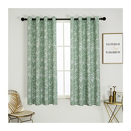 Calimodo Green Blackout Curtains 52 x 63 Inches for Living Room Tree Branches Printed Grommets Thermal Insulated & Darkening Window Drapes for Home, Hotel, Office and Dorm(2 Panels)