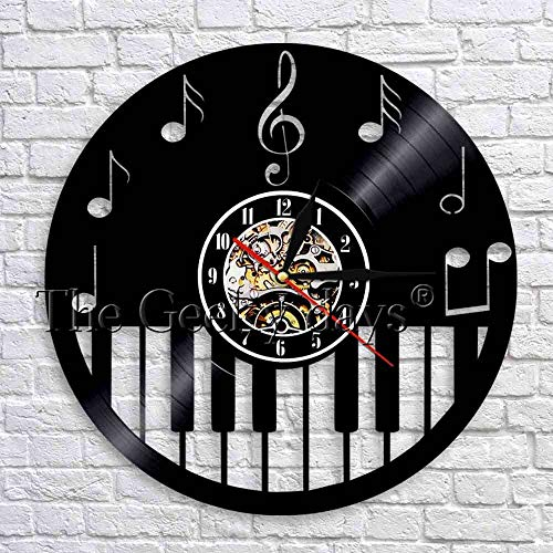 fdgdfgd Negro Retro CD Reloj Reproducir Piano Notas Musicales Disco de Vinilo Reloj de Pared Música Moderna Tema Decoración | Diseño de Arte único