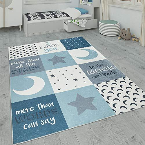 Paco Home Alfombra Infantil, Alfombra Habitación Infantil Lavable con Motivos De Estrellas, Luna Y Cuadros, tamaño:120x160 cm, Color:Turquesa