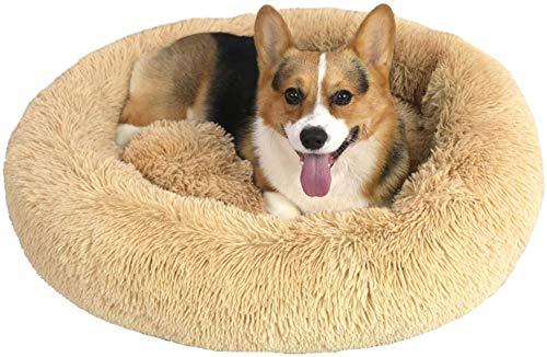 LLKK Cama calmante para Perros,Cama para Gatos,abrazador de rosquillas Que se calienta automáticamente,cómodas Camas Redondas de Felpa para Perros y Gatos Grandes y medianos