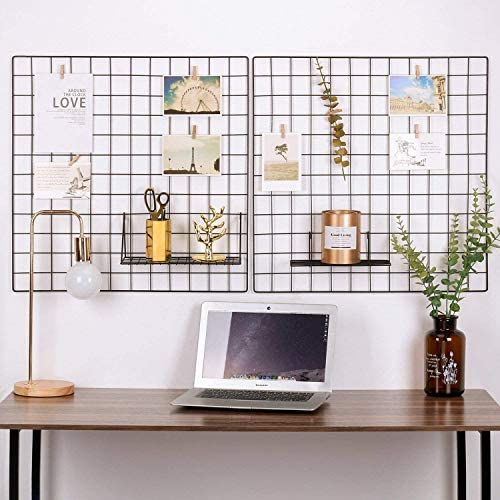 Pulatree Wire Wall Grid(1 Pack), Panel Grid Photo Wall for Photo Hanging Display Metal Grid Wall Decor Organizer Mesh Panels Display Wall Storage 25.6 x 17.7 inch - Gold