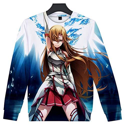 Zcbm Männermode Rundhals Sweatshirt Pullover Rundhalsausschnitt 3D Druck Anime Sword Art Online Yūki Asuna/Yuuki Asuna Langarm Outwear,XXXXL