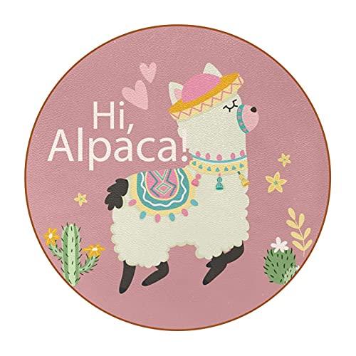 6 Pieza Creativa Diseño Posavasos Animal Lindo de Alpaca Posavasos de Cuero de Microfibra, Tipos de Café té Cristal Posavasos Portavasos Mat para Cocina Salón y Bar 11cm