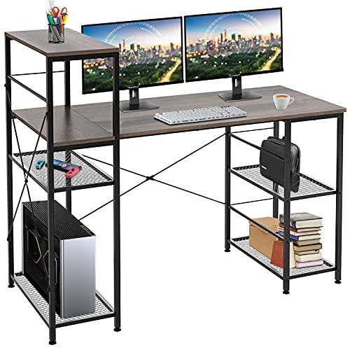 Computer Desk with Shelves 52 Inch, Modern Home Office Desk with Adjustable Bookshelf Corner Desk for Study and Work, Vintage