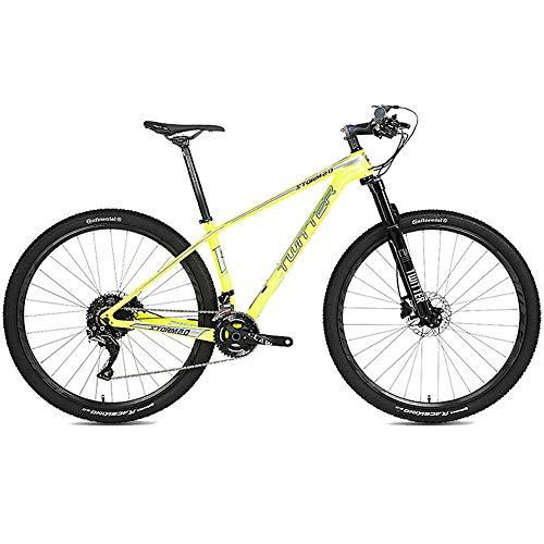 Bicicleta de Montaña de Fibra de Carbono para Todo Terreno de 27.5 Pulgadas, con Horquilla de Suspensión de 27 Velocidades/Freno de Doble Disco, Bicicleta MTB de Suspensión Completa,Amarillo,29×15