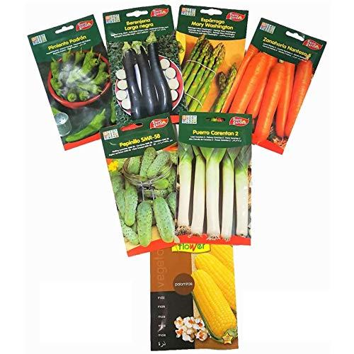 Semilla hortaliza de huerto lote 6 sobres + 1 de regalo. Lote: pimiento de padrón, berenjena larga, esparrago, zanahoria, pepinillo, puerro. Regalo: Semilla palomitas de maíz