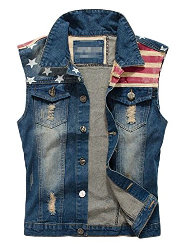 Generic Men's American Flag Sleeveless Ripped Jeans Denim Jacket Vest Waistcoat Blue 2XL