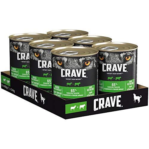 CRAVE Premium Pastete mit Lamm & Rind für Hunde – Getreidefreies Adult Nassfutter mit hohem Proteingehalt – Dose 6 x 400g