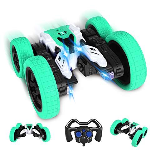 Ferngesteuertes Auto,RC Stunt Auto Rennauto, 360° Flips 4WD Buggy Auto, 2.4 Ghz Fernsteuerung Spielzeugauto mit LED, Doppelseitiges rennauto, Tumbling Rennwagen Stunt Auto für Kinder über 3 Jahre