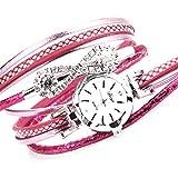 Damenuhren Full Diamond Armband Armbanduhr Damen Lange Gürtel Aufzug Quarzuhr Rose Rot (Batterie im Lieferumfang enthalten)