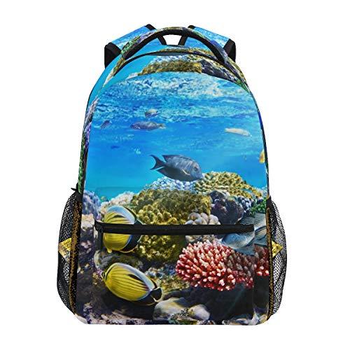 DXG1 Corail Reef Poissons de la mer sous-Marine Sac à Dos Femmes Hommes Adolescent Fille Garçon Sac d'école Sac à Main Bookbag Casual Daypack Fournitures