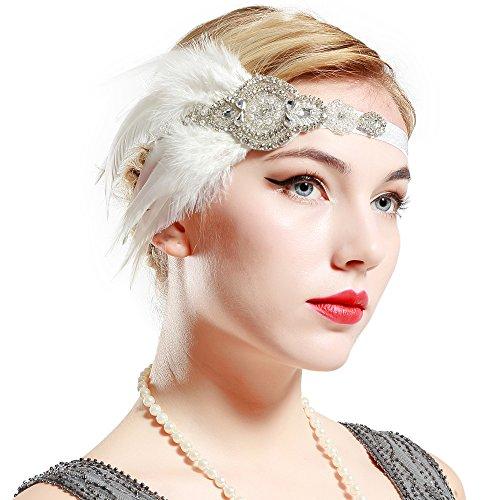 BABEYOND Bandeau Cristal Bandeau Plume Flapper Headband Gatsby Art des Années 1920 Cérémonies Accessoires de Cheveux Bandeaux Plume Classique Partie à Thème (Blanc)