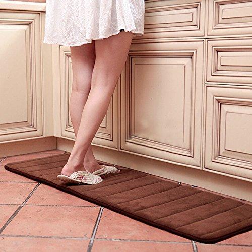 Ainstsk, tappetino da bagno lungo in memory foam, 40,5 cm x 150 cm, in microfibra, antiscivolo, assorbente, ad asciugatura rapida, tappetino da bagno, tappetino da bagno (kaki)