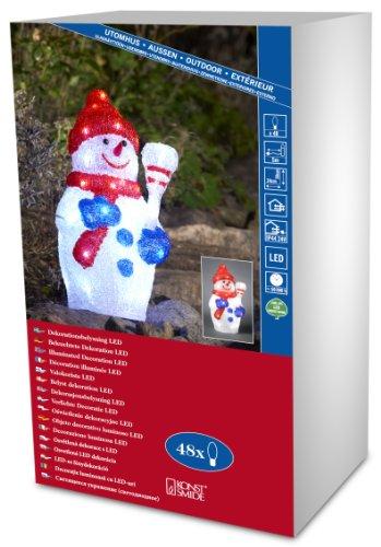 Konstsmide 6154-203 Bonhomme de Neige Acrylique 48 LED Blanc + Câble Transparent 24 V