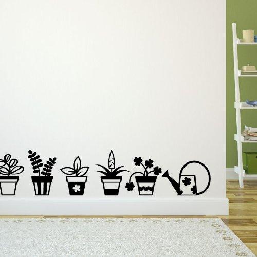 Ambiance-Live wandtattoo bloempot 35 x 45 cm Mosterd