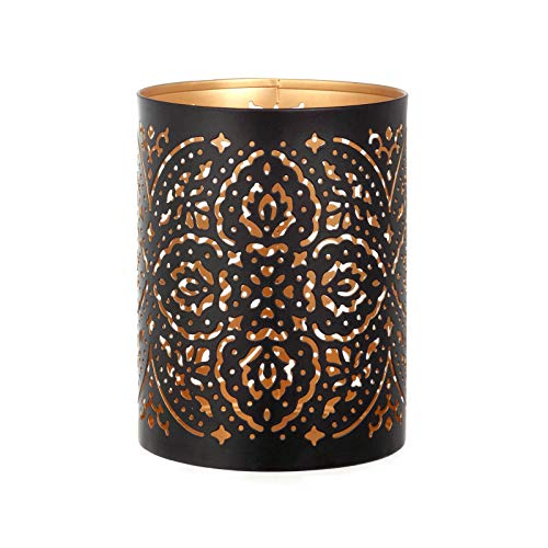 JOUDOO Metal Pillar Candle Holder, 5.63 Inch Tall Cutout Cylinder Vintage Design Table Candlestick Holders for Wedding, Party, Home Decor (Black)
