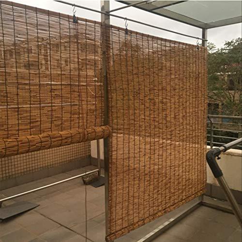 KDDFN Handgewebte Carbonization Schilf Vorhang,Balkon Trennwand Strohjalousien,Bambusrollo Sichtschutz Rollos,Sonnenschutz,Atmungsaktiv,mit Lifter,für Außen/Innen,Anpassbar (140x210cm/55x83in)