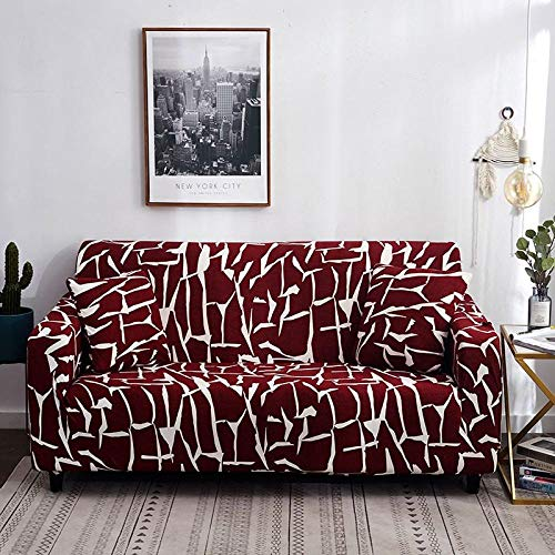 HXTSWGS Funda de sofá de Terciopelo,Fundas para sofᠠTodo Incluido Antideslizante seccional en Forma de L Funda para sofá de Esquina Funda elástica para sofá 1/2/3/4 plazas-Vino_2-plazas (145-185cm)