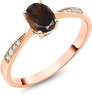 10K Rose Gold Diamond Ring with 0.81 Ct Oval Brown Smoky Quartz