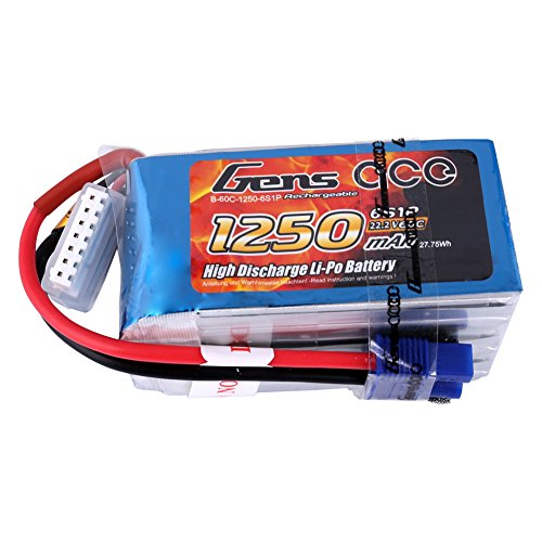 Gens Ace B-60C-1250-6S1P Gens ace1250mAh 22.2V 60C 6S1P Lipo Akku Pack mit EC3 Stecker for FPV Racing Quadcopters Helikopter Flugzeuge und Modellboote, Blue