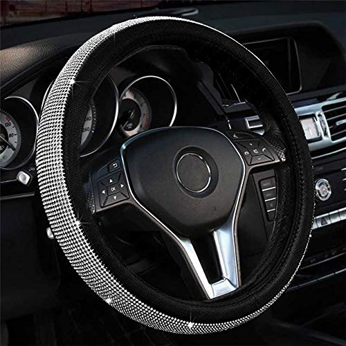Kinhand Bling Steering Wheel Cover with Crystal Rhinestone, Cute Car Accessories for Women Girl, Fit 15 Inch Steering Wheel