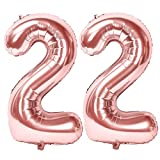 Siumir Numéro Ballons 22 Ans Géant Ballons en Or Rose Foil Helium Ballons Fête d'anniversaire Ans Anniversaire Décoration