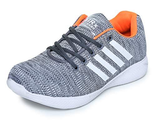 TRASE Boy's Grey & Orange Sports Shoe - 5 UK
