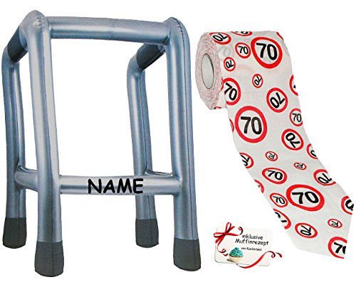 alles-meine.de GmbH 2 TLG. Set: __ Gehhilfe - ( Aufblasbar ) incl. Name + Toilettenpapier Rolle -  70. Geburtstag / siebzig und Sexy - Happy Birthday  - lustiger Partyartikel -..