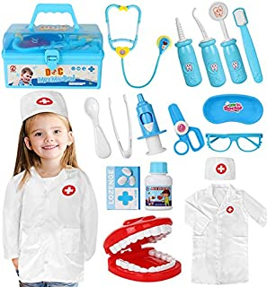 Doctor Kit for Kids Realistic Dentist Medical Kit Toy Doctor Playset with Stethoscope and Coat, Pretend Play Dr Costume Dr...