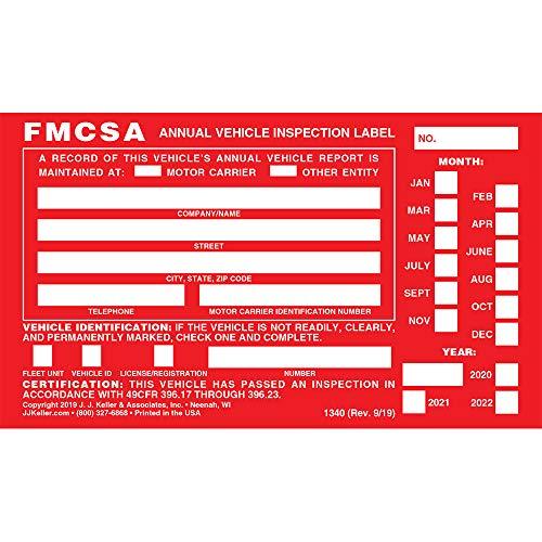 "Annual Vehicle Inspection Label with Punch Boxes 20-pk. - Aluminum, Permanent Self Adhesive, 6"" x 3.5"" - Meet DOT AVIR Requirements - J. J. Keller & Associates"