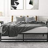Amolife Metal Platform Bed Frame with Wood Slat Support,Mattress Foundation,King Size Bed Frame, Black