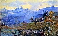 25 世界の名画 - ¥4K-150k 手書き-キャンバスの油絵 - アカデミックな画家直筆 - deer grazing 風景画 Charles Marion Russell Indiana ANW1 - 絵画 洋画 複製画 -サイズ01