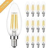 12er Pack E14 Kerze 4W LED Lampe, Kohree E14 4W Glühfaden Glühbirnen, led Birne E14 ersetzt 40W Glühlampe, Warmweiß 2700K Energiesparlampe, nicht dimmbar, 440Lm 360°Abstrahlwinkel [Energieklasse A++]