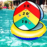 LONYKIBEE Pool Game Inflatable Pool Ring Toss Games 24'' Pool Toys with 6 Ball Pool Toss Game for Kids Teens Adults Floating Cornhole Board Set Pool Party Water Carnival Outdoor Beach Toy