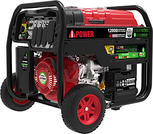 A-iPower SUA12000ED 12,000 Watt Dual Fuel Portable Generator Propane or Gas EPA/CARB, Electric Start + Instant Energy Switch