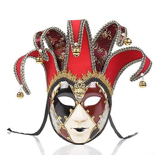 BLEVET Karneval Venezianische Maske Damen Party Ball Fasching Kostüm Requisiten Maske MZ117 (Red)