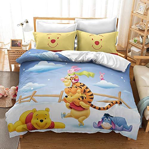 HLSM Disney Winnie the Pooh Bedding Set - Disney Kids Duvet Cover Set - Soft Microfiber 3D Digital Print Bedding Sets,Gift for Teens Girls (C10,220X260CM)
