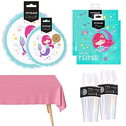 Vajilla Desechable Sirena,para Cumpleaños Niña, Incluye Plato Postre Cartón,Vaso Iridiscente,Servilleta,Cubierto Reutilizable y Mantel Rosa Pastel-Vajilla Biodegradable de Fibra Natural y Reci