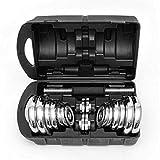 Anysun Chrome Dumbbells Set Cast Iron Adjustable Weight Lifting Fitness Equipment With Storage Box 20KG/30KG Set