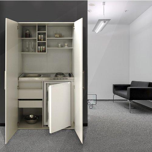 Respekta - Blocco cucina con sotto-lavello, piano in vetroceramica, reversibile, colore: bianco