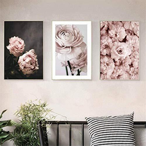 Refosian Romántico Rosa claro Peonías Flores Lienzo Arte Galería moderna Carteles Impresiones Pinturas Cuadros de pared Interior Dormitorio Decoración del hogar 35 * 50cm * 3 Piezas