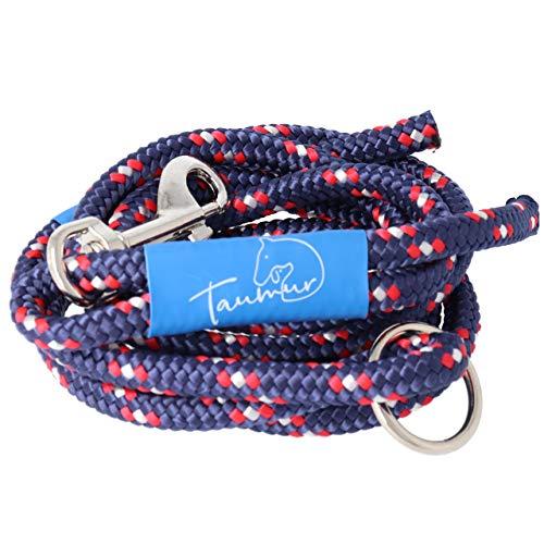 Taumur Klakinnborg - farbenfrohe City Hundeleine - dunkelblau/weiß/rot - Leine für mittelgroße Hunde aus robustem PPM