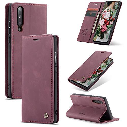 FMPC Handyhülle für Xiaomi Mi 9 Premium Lederhülle PU Flip Magnet Hülle Wallet Klapphülle Silikon Bumper Schutzhülle für Xiaomi Mi 9 Handytasche - Wein Rot