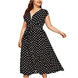 Plus Size Summer Dresses for Women V-Neck Button Polka Dot Prints Lace-up Waist Dresses Loose Long Boho Dresses Black