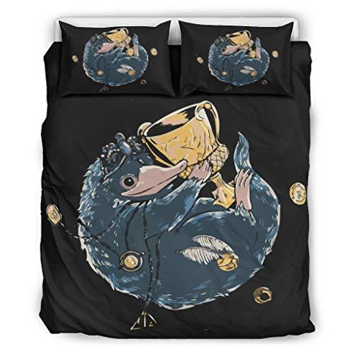 BOBONC Fantastic Thieves and Where to Find Them Chic Design Bettbezug Bettbezug Set Soft Breathable Einzelbett Bettwäsche Sets für Kinder 100% Polyester White 264x229cm