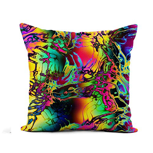 N\A Throw Pillow Cover Abstract Psychedelic Motley Colorful Rainbow Bright Chaotic Color Dappled Pillowcase Home Decor Square Cotton Linen Pillow Case Cushion Cover