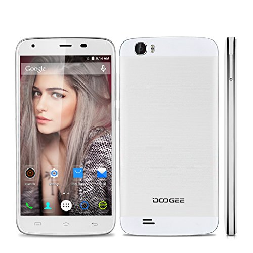 DOOGEE T6 5,5 Zoll 4G LTE Smartphone Android 5,1 Dual Sim Ohne Vertrag 2GB / 16GB Quad Core IPS Touchscreen 3-Finger Screenshot 6250mAh Akku HotKnot Smart Wake Air Gestures OTG GPS Wifi Weiß