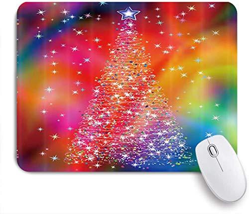 Dekoratives Gaming-Mauspad,Bunte kreative Weihnachtsbaum Neujahr Sparkling Glitter Xmas,Bürocomputer-Mausmatte mit rutschfester Gummibasis
