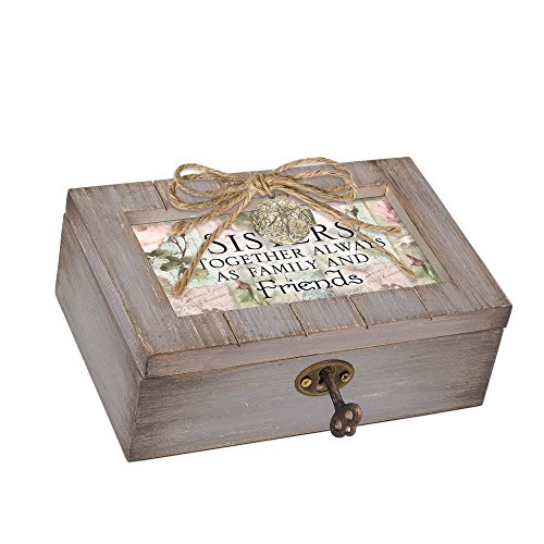 Cottage Garden Sisters Together Always Friends Grey Locket Petite Music Box Plays You Light Up My Life
